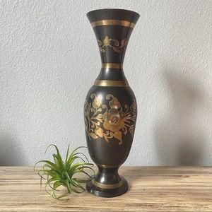 Vintage Indian Blackened Brass Etched Floral Vase